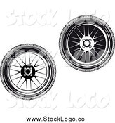 Vector Clipart of Black and White Wheel Logos by Vector Tradition SM