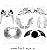 Vector Clipart of Black and White Wing Logos by Vector Tradition SM