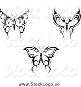 Vector Clipart of Black Tribal Butterflies Nature Logos by Vector Tradition SM