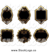 Vector Clipart of Blank Gold and Black Label Logos by Vector Tradition SM