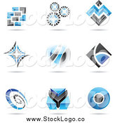 Vector Clipart of Blue and Black Logo Designs with Shadows by Cidepix