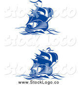 Vector Clipart of Blue Ships at Sea Logos by Vector Tradition SM