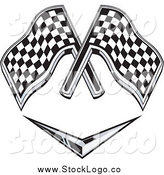 Vector Clipart of Checkered Racing Flags over a Chevron Symbol by Patrimonio