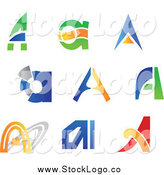 Vector Clipart of Colorful Letter a Abstract Logos by Vector Tradition SM