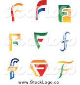 Vector Clipart of Colorful Letter F Logos by Vector Tradition SM