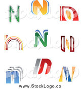 Vector Clipart of Colorful Letter N Logos by Vector Tradition SM