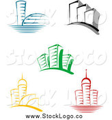 Vector Clipart of Colorful Skyscraper Building Logos by Vector Tradition SM
