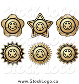 Vector Clipart of Gold and Black Label Logos by Vector Tradition SM
