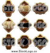 Vector Clipart of Gold Brown and Black Label Logos by Vector Tradition SM