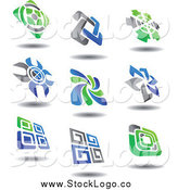 Vector Clipart of Green, Blue and Gray Logos and Shadows by Vector Tradition SM