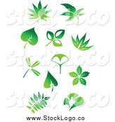 Vector Clipart of Green Leaf Logos by Vector Tradition SM