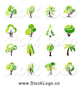 Vector Clipart of Green Tree Logos by Elena