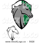 Vector Clipart of Horse Heads and a Shield by Vector Tradition SM