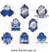 Vector Clipart of Logos of Blank Silver and Blue Labels by Vector Tradition SM