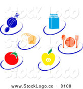 Vector Clipart of Nutrition Logos of Food Items and Swooshes by Vector Tradition SM