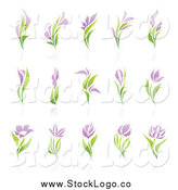 Vector Clipart of Purple and Green Flower Logos by Elena