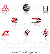 Vector Clipart of Red and Black Abstract Logos by Vector Tradition SM