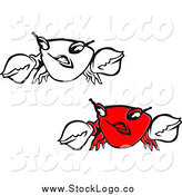 Vector Clipart of Red and Black and White Crab Logos by Vector Tradition SM