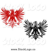 Vector Clipart of Red and Black and White Heraldic Eagle Logos by Vector Tradition SM