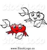 Vector Clipart of Red and Black and White Presenting Crab Logos by Vector Tradition SM