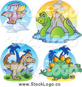 Vector Clipart of Round Scenes and Dinosaur Logos by Visekart