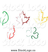 Vector Clipart of Simple Colorful Leaf Designs by Vector Tradition SM