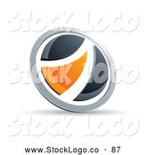 Vector Logo of a 3d Black and Orange Round Button by Beboy