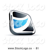 Vector Logo of a 3d Black Square Button with a Blue Wave by Beboy