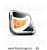 Vector Logo of a 3d Black Square Button with an Orange Wave by Beboy