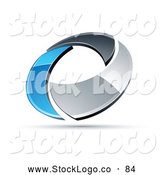 Vector Logo of a 3d Chrome and Blue Circling Ring by Beboy