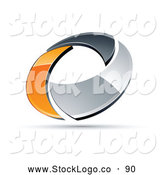 Vector Logo of a 3d Chrome and Orange Circling Ring by Beboy