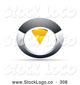 Vector Logo of a 3d Chrome and Yellow Circular Knob by Beboy