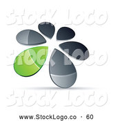 Vector Logo of a 3d Circle of Chrome and Green Droplets Forming a Windmill by Beboy