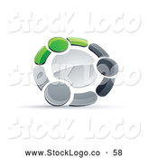 Vector Logo of a 3d Circle of Three Green, Gray and Black People Holding Hands by Beboy