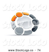 Vector Logo of a 3d Circle of Three Orange, Gray and Black People Holding Hands by Beboy