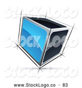 Vector Logo of a 3d Cube with Blue and Black Sides by Beboy