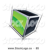 Vector Logo of a 3d Cube with Green and Black Sides by Beboy