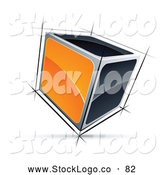 Vector Logo of a 3d Cube with Orange and Black Sides by Beboy