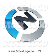 Vector Logo of a 3d Pre-Made Blue and Chrome N Logo by Beboy