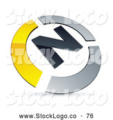 Vector Logo of a 3d Pre-Made Yellow and Chrome N Logo by Beboy