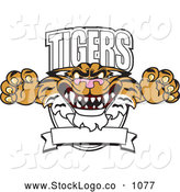 Vector Logo of a Aggressive Tigers Character School Mascot Logo by Toons4Biz
