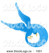 Vector Logo of a Beautiful Circling Blue Bird with a Long Feathered Tail on White by AtStockIllustration