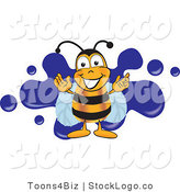 Vector Logo of a Bee Mascot Cartoon Character Logo with a Blue Paint Splatter on White by Toons4Biz