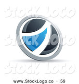 Vector Logo of a Black and Blue Round Button on White by Beboy