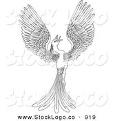 Vector Logo of a Black and White Coloring Page of a Magical Flying Phoenix Bird on White by AtStockIllustration