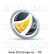 Vector Logo of a Black and Yellow Round Button on White by Beboy
