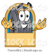 Vector Logo of a Black Rubber Tire Mascot Cartoon Character with a Rectangular Blank Tan Label by Toons4Biz