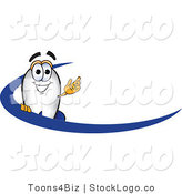 Vector Logo of a Blimp Mascot Cartoon Character with a Blue Dash or Swoop by Toons4Biz