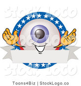 Vector Logo of a Blue Eyeball Mascot Cartoon Character on a Blank American Themed Label by Toons4Biz
