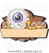 Vector Logo of a Blue Eyeball Mascot Cartoon Character on a Blank Brown and Tan Label by Toons4Biz